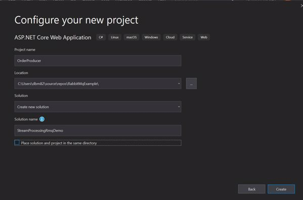 Configure new asp.net core project
